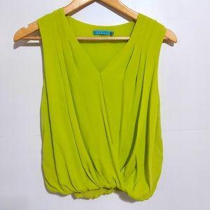 Alice + Olivia Neon Green Sleevless V Neck Blouse